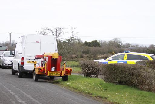 The scene on the Bravellan Road outside Ballymoney on Thursday after the remains of a body was found. Picture: MARK JAMIESON.