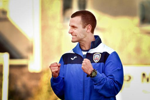 Coleraine' manager, Oran Kearney celebrates following Saturday's match at Shamrock Park