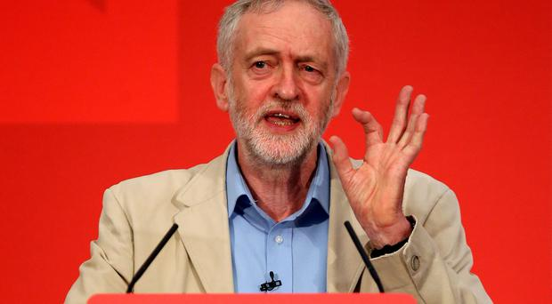 Labour leader Jeremy Corbyn addresses supporters yesterday as he states Labour's case for staying in the European Union