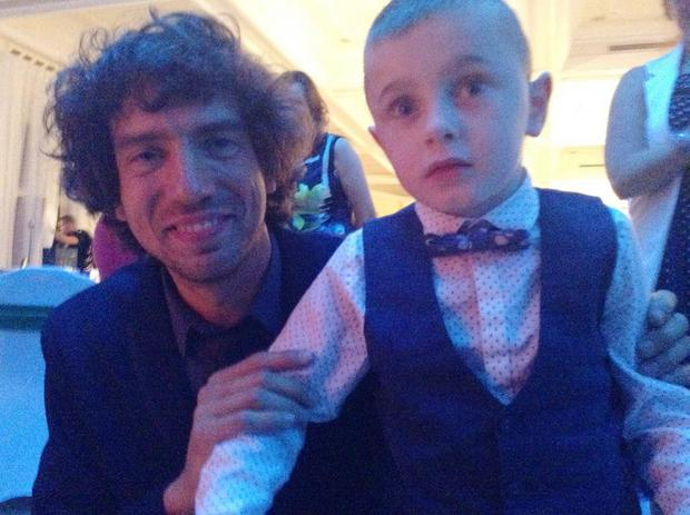 Oliver Dickey with Snow Patrol front man Gary Lightbody at last year's awards.