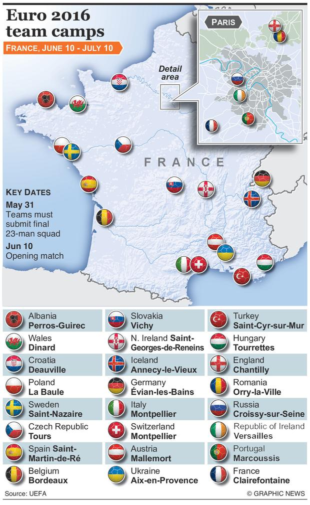Graphic shows details of team camps for the 24 teams at Euro 2016, with key dates