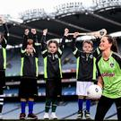 Having a ball: Armagh ladies footballer Aimee Mackin with children from Gaelscoil Cholaiste Mhuire at Croke Park