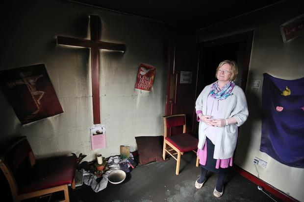 Arson attack on Cairnshill Methodist Church in south Belfast. Minister for the church Rev. Louise Donald. Photo: Jonathan Porter/PressEye