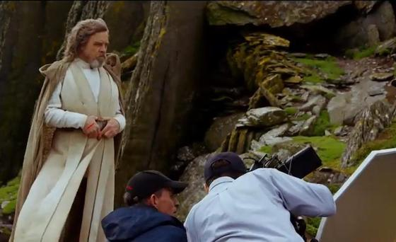 Mark Hamil plays Luke Skywalker on Skellig Michael for Star Wars. Pic Tourism Ireland