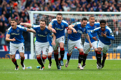 Rangers players celebrate after winning the penalty shoot out during the Scottish Cup Semi Final between Rangers and Celtic at Hampden Park on April 17, 2016 in Glasgow, Scotland. Photo by Ian MacNicol/Getty Images