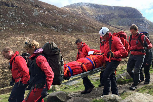 The Mourne mountain rescue team which helped a female hill walker with a suspected lower leg fracture to safety. Picture by MRT/MCAULEY MULTIMEDIA