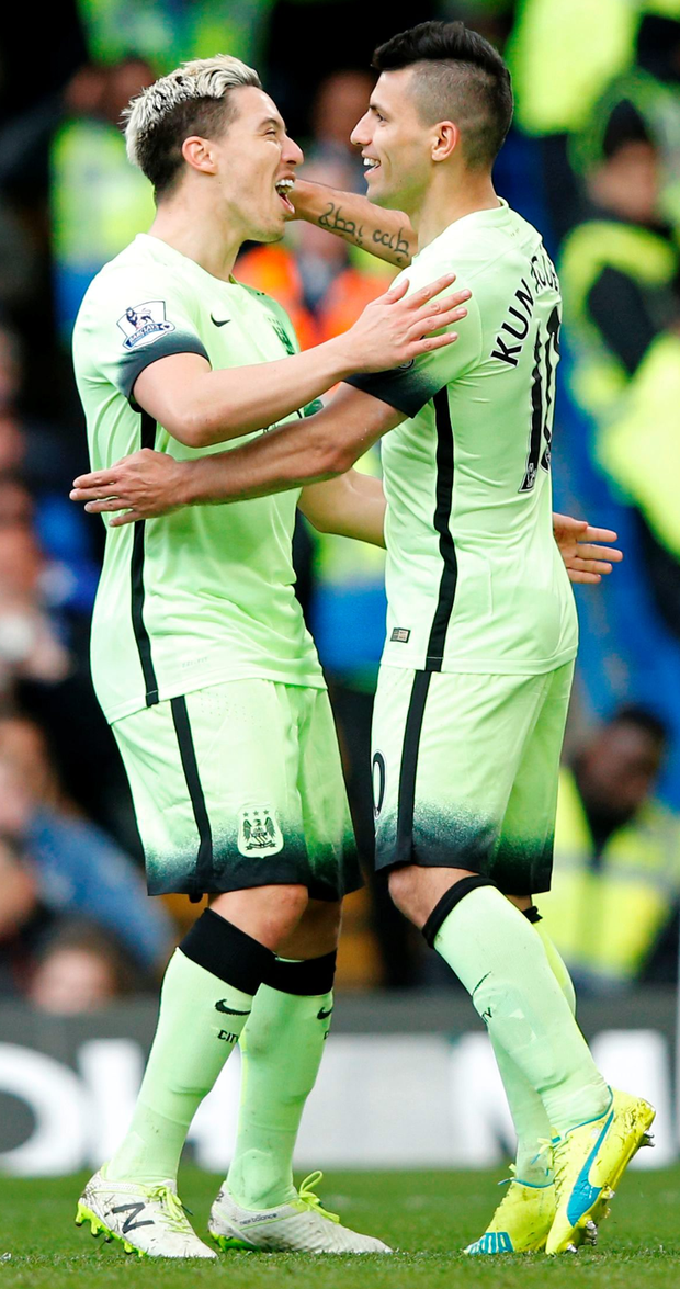City slickers: Sergio Aguero and Samir Nasri carve open Chelsea