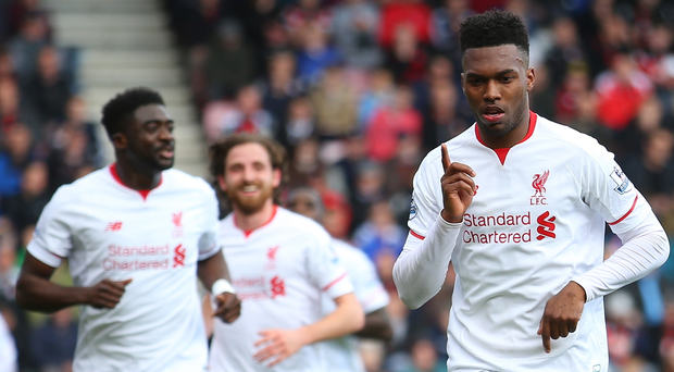 Perfect response: Daniel Sturridge hails his goal after returning to Liverpool's starting line-up following recent bench duty