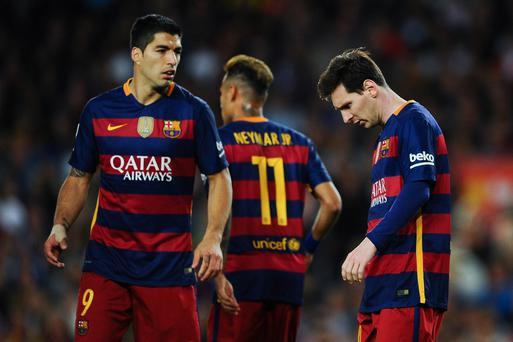 Title blow: Luis Suarez, Neymar and Lionel Messi can't stop Barcelona crashing to three league defeats on the spin