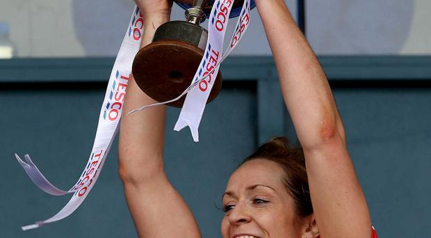 Joy to pain: Caroline O'Hanlon lifts the league title but the All-Ireland bid ended in controversy