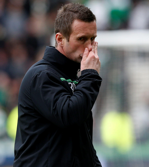 On his way: Ronny Deila is staring at the Parkhead exit