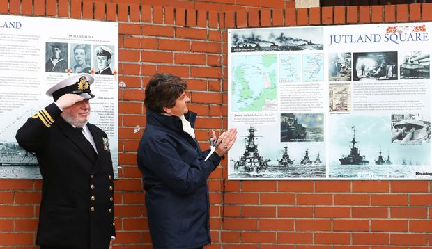 First Minister Arlene Foster unveils the new wall art installation in Jutland Square, at Tennent Street on the Shankill Road, which commemorates sailors from all over Ireland who lost their lives at the Battle of Jutland, the centenary of which falls on 31st May 2016. Photo by William Cherry / Presseye
