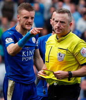 Verbal volley: Jamie Vardy lets rip at referee Jon Moss