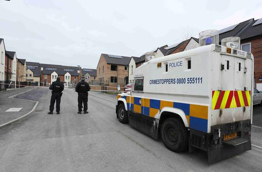 The scene in Magowan Park, Creggan, after a man was shot twice in the leg. Pic: Lorcan Doherty Press Eye.