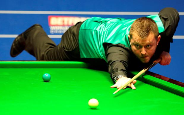 On top: Mark Allen on his way to a 6-3 overnight lead against Mitchell Mann