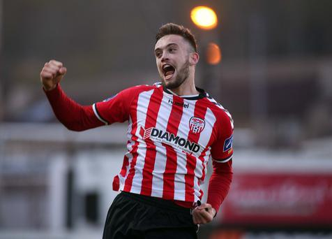 Rover and out: Nathan Boyle celebrates his second goal for Derry City against Sligo Rovers in the EA Sports League Cup at the Brandywell