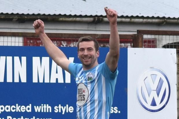 Treble yell: Warrenpoint ace Stephen Murray celebrates his hat-trick