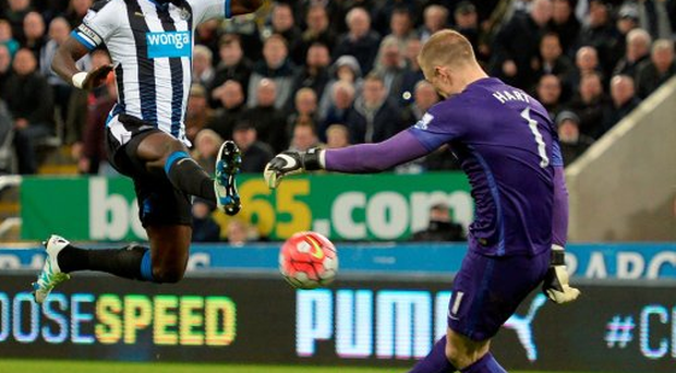 Keeping fine: City's Joe Hart clears the danger as Newcastle United's Moussa Sissoko attempts to block last night