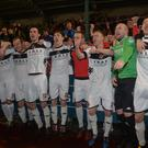 Crusaders celebrates after winning the League Title at Solitude in Belfast. Photo Colm Lenaghan/Pacemaker Press