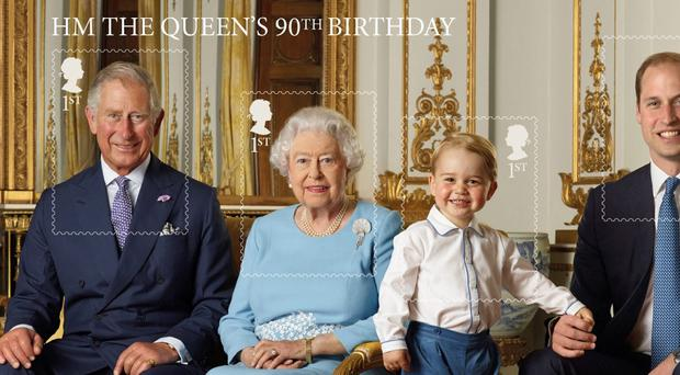 In this Handout image released by Buckingham Palace on April 20, 2016, (L-R) Prince Charles, Prince of Wales, Queen Elizabeth II, Prince George and Prince William, Duke of Cambridge pose during a Royal Mail photoshoot for a stamp sheet to mark the 90th birthday of Queen Elizabeth II in the White Drawing Room at Buckingham Palace in the summer of 2015 in London, England. (Photo by Ranald Mackechnie/Royal Mail/Getty Images)
