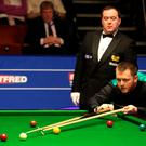 On target: Mark Allen on way to victory over Mitchell Mann at the Crucible