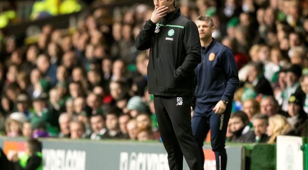 Celtic manager Ronny Deila during the Scottish Premiership match at Celtic Park