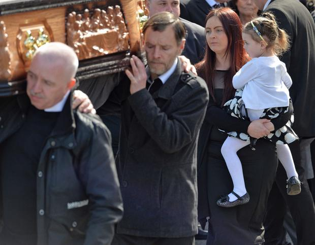 Joanne McGibbon during the funeral of Michael McGibbon at Holy Cross Church in the Ardoyne area of north Belfast on Thursday morning. Pic Colm Lenaghan/Pacemaker
