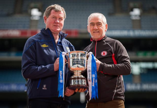 Up fo rthe cup: Cavan manager Terry Hyland and Tyrone manager Mickey Harte before the Division Two title decider