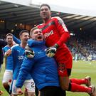 Looking up: Martyn Waghorn, joined by team-mate Wes Foderingham, insists he is back on the right path