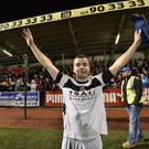 Captain Fantastic: Colin Coates salutes back to back title wins for Crusaders for the first time after Tuesday's victory at Solitude