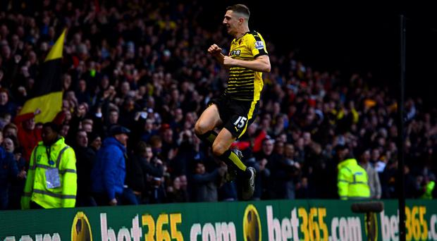Flying high: Craig Catchcart has an FA Cup semi-final with Watford and Euro 2016 with Northern Ireland