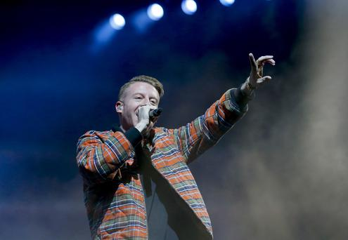 Belfast , UK - April 21, Pictured is Macklemore & Ryan Lewis performing in the SSE Arene Belfast on April 21, 2016 Belfast , Northern Ireland ( Photo by Kevin Scott / Belfast Telegraph )