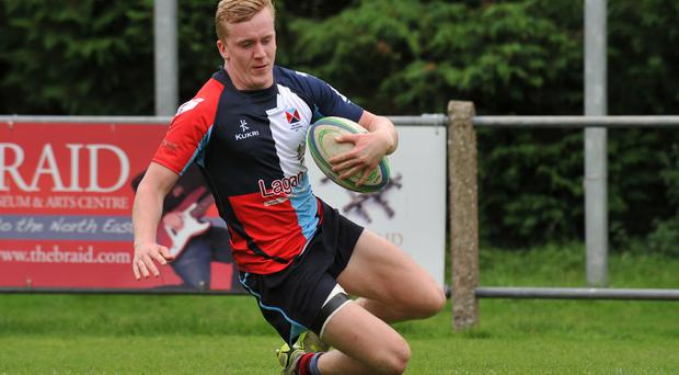 Try scorer: Belfast Harlequins' David McMaster touches down