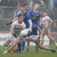 On the ball: Tyrone's Mark Bradley in action during his side's victory over Cavan earlier in the League campaign