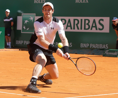 Andy Murray of Britain plays a return to France's Benoit Paire during their match of the Monte Carlo Tennis Masters tournament in Monaco