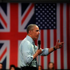 US President Barack Obama speaks during the 'Town Hall' discussion with British youth at the Royal Horticultural Halls on April 23, 2016 in London, England. The President and his wife are currently on a brief visit to the UK where they visited HM Queen Elizabeth II at Windsor Castle yesterday and later had dinner with Prince William and his wife Catherine, Duchess of Cambridge at Kensington Palace. Mr Obama also visited 10 Downing and held a joint press conference with British Prime Minister David Cameron where he stated his case for the UK to remain inside the European Union.