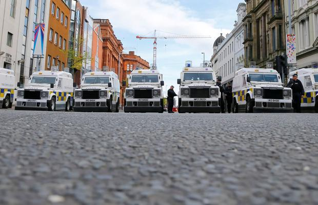 Major security operation in Belfast city centre on Sunday morning ahead of a republican Easter Rising parade (Photo by Kevin Scott)