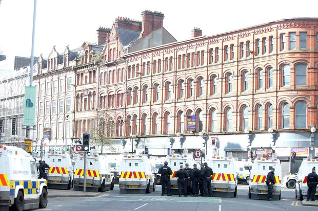 A major security operation took place in Belfast on Sunday morning ahead of a republican Easter Rising parade Picture by Jonathan Porter/PressEye