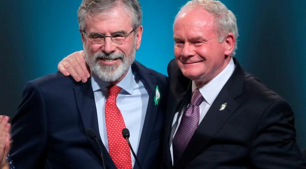 Sinn Fein president Gerry Adams (left) with Martin McGuinness at the Sinn Fein Ard Fheis at The Convention Centre in Dublin.