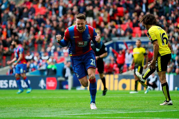 Glory boy: Connor Wickham celebrates after scoring the winner for Crystal Palace against Watford in the FA Cup semi-final