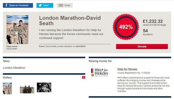 Screengrab from the Just Giving page as of 1130 on 25/4/2016 of Captain David Seath who has been named as Afghanistan veteran that collapsed and died three miles short of the London Marathon finish line. Just Giving/PA Wire