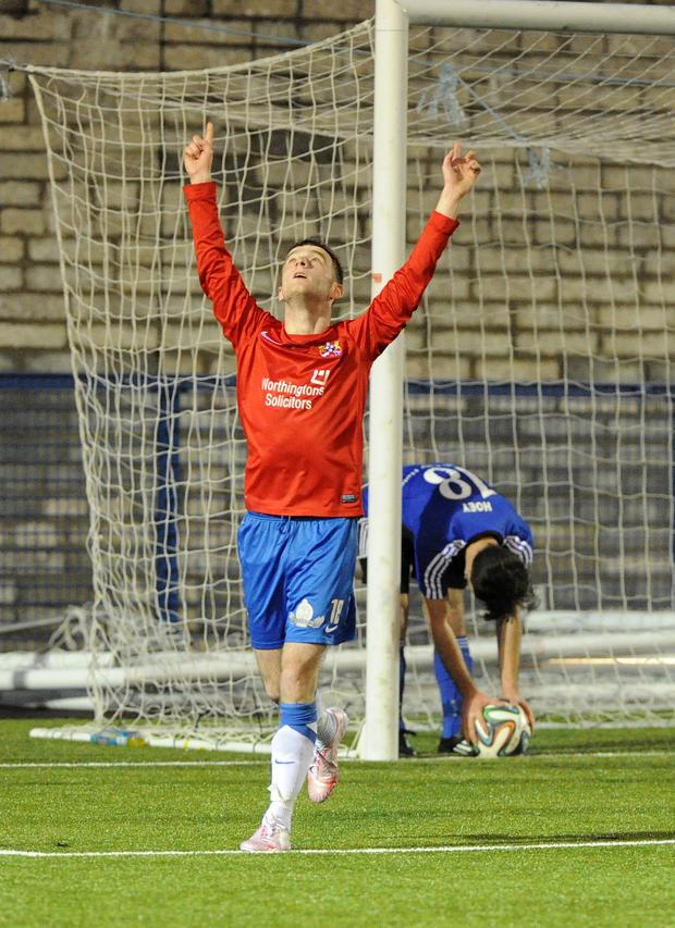 Ards footballer Gary Warwick celebrates scoring against Armagh. Photo: Declan Roughan / Presseye