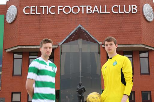 Young Bhoys: Irish pair Fiacre Kelleher and goalkeeper Connor Hazard hope to be with the Celtic squad at the under-21 SuperCupNI