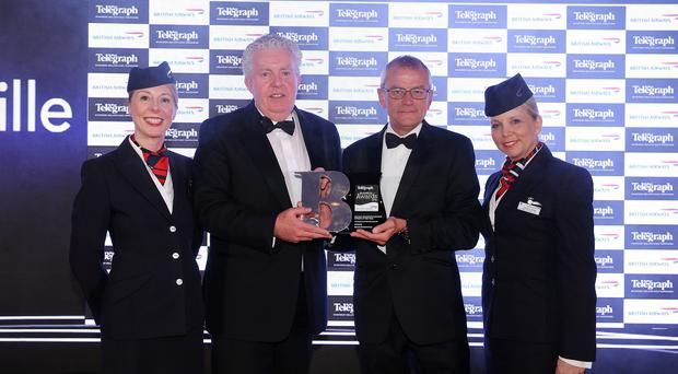 Press Eye - Belfast - Northern Ireland 21st April 2016 - Photo by Kelvin Boyes / Press Eye. Belfast Telegraph Business Awards in association with British Airways at the Culloden Hotel. Belfast Telegraph Businessperson of the Year sponsored by British Airways Winner - Businessperson of the year Brian McConville is presented with his award fromÊKeith Chuter , British Airways Sales Manager Ireland & UK Regions Also pictured is Christine Wright and Jayne Deasy from British Airways.