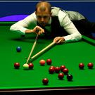Staying cool: Barry Hawkins on his way to victory over Ronnie O'Sullivan