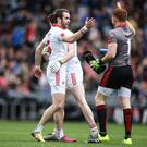 Footnote: Ronan McNamee shows off his fluorescent boots, but Tyrone are yet to meet the big guns due to their season in Division Two