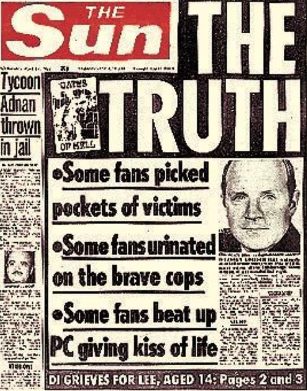 The lies: The Sun's Hillsborough front page from 19 April 1989