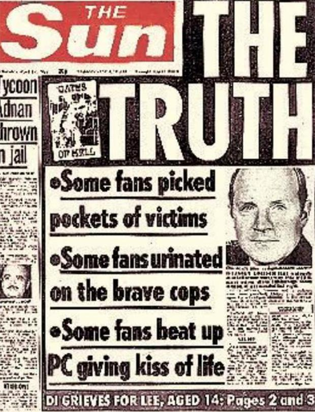 The Sun's front page four days after the Hillsborough disaster.