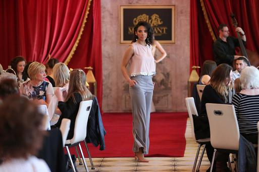 Photo by Kelvin Boyes / Press Eye Style Academy models showcase stunning new spring/summer designs from local designers, Chloe Dougan and APD Jewellery's at The Merchant Hotel's Fabulous Fashion Teas.