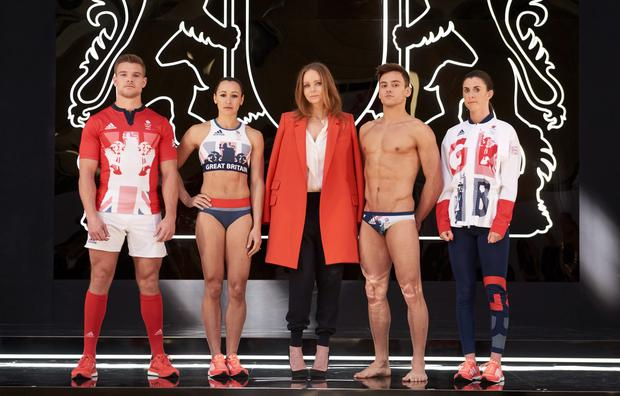 Creative Director Stella McCartney joins Team GB and ParalympicsGB athletes to unveil the new adidas and Stella McCartney Team GB kit for Rio 2016 (L to R) Tom Mitchell, Jessica Ennis-Hill, Stella McCartney, Tom Daley, Olivia Breen at Seymour Leisure Centre on April 27, 2016 in London, England. (Photo by Ben Duffy/adidas via Getty Images)